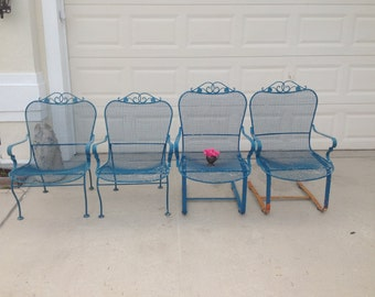Mid Century Modern Russell Woodard Sculptural Chairs / Wire Mesh Rocker Bouncer Chairs Set of 2 / Salterini Style Mesh at Retro Daisy Girl