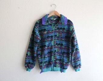 Unique Funky Columbia Fleece Zipup Sweater Jacket Youth XL Womens Sm