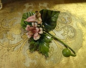 Vintage Lovely Italian Tole Pink Bell  Flower Hook w/Foliage Boudoir Chic Wall Hanger..