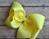 SUMMER SUPER SALE Lemon Yellow Big 6 Inch Twisted Boutique Bow Bright Yellow Bow