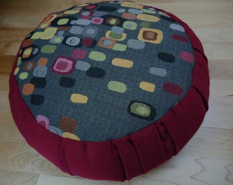 Meditation cushion, Beautiful Geometric design with burgundy wine color sides and back