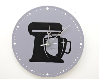 Grey Scale Clock Kitchen Aid Mixer