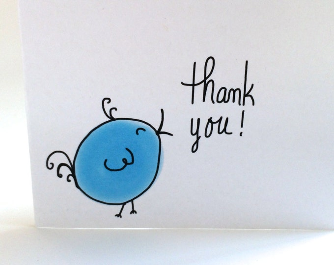 Blue Bird Thank You Card Set of Three, Baby Shower Thank You Cards, made on recycled paper come with envelope and seals