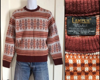 Vintage 1970's Campus Snowflake Ski Pullover Sweater size Large Rust Brown Orange Nordic Pattern