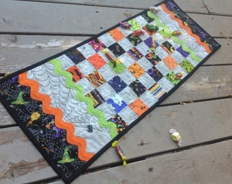 Halloween Checkerboard and RickRack 12x34 table runner