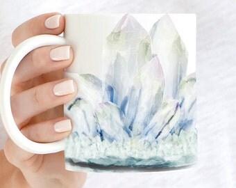 Moonstone Crystal Coffee Mug   Bohemian Gemstone Coffee Cup   Healing Crystals Teacup   Spiritual Gift Mug   Holistic Boho Coffee Mug Gift