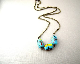 Blue Beaded Necklace, Bead Chain Necklace, Glass bead necklace, colorful bead necklace, long bead necklace