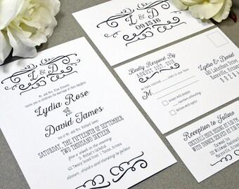 Handwritten Wedding Invitations Black and White Wedding Pocket Invite Rustic Wedding Invitation Suite Calligraphy Wedding Invites Monogram