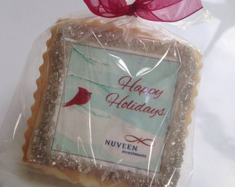 Custom corporate holiday gifts logo shortbread cookie favors