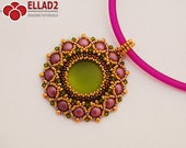 Tutorial Fabiola Pendant - with 2-hole Cabochon 6mm, Beading Pattern, Instant download
