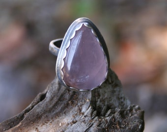 Pink Quartz Sterling Silver Oxidized Boho Gypsy Tribal Southwestern Hippie Freespirit Statement Silversmith Ring