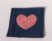Denim Coaster - coral heart