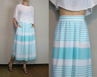 80s Sky Blue STRIPED Cotton Skirt Blue Striped Skirt Blue And White Striped Skirt Blue Pleated Cotton Skirt Blue Striped Pleated Skirt