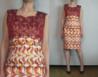 60s Heart Print BATIK Shift Dress Vintage 1960s Batik Cotton Dress Illusion Wine Metallic Gold Batik Dress White Cotton Print Dress