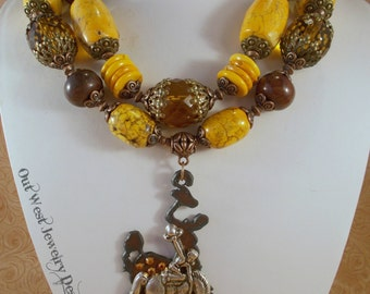 Western Cowgirl Statement Necklace Set - Chunky Yellow Orange and Brown Howlite Turquoise  - Wyoming Bucking Horse