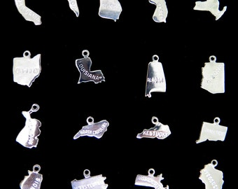 Choose Your State - Engraved Sterling Silver Charm ONLY