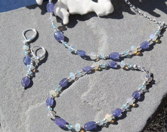 Tanzanite, welo opal, and aquamarine necklace, bracelet, and/or earrings on sterling silver by Evydaywear