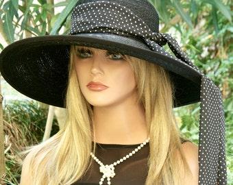 Wedding Hat, Audrey Hepburn Hat, Black and White Polka Dot Hat,Del Mar Hat Derby Hat, Wide Brim Black Hat, Race hat, event hat, occasion hat
