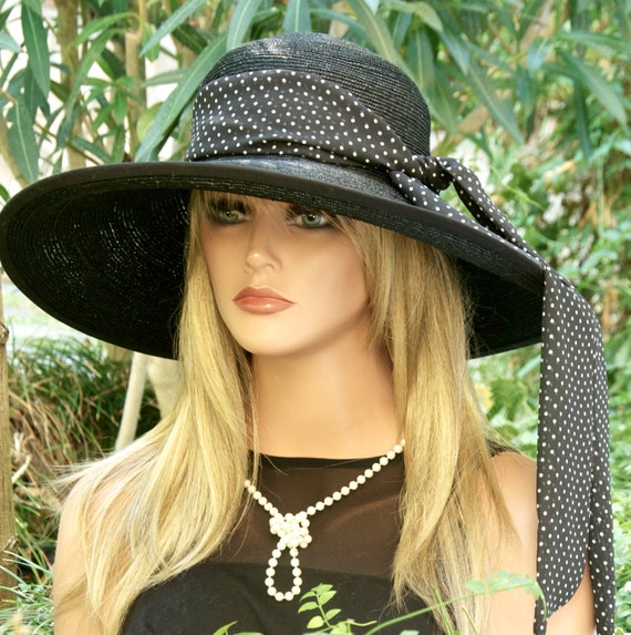 Wedding Hat, Derby Hat, Audrey Hepburn Hat, Black and White Polka Dot Hat, Wide Brim Black Hat, occasion hat