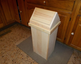 Handcrafted Wood 13 Gallon Kitchen Trash Can Unfinished Pine Made In USA
