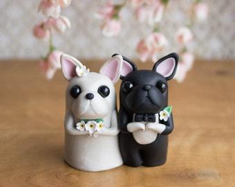French Bulldog Wedding Cake Topper - Frenchie Wedding by Bonjour Poupette