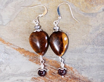 Tiger Eye Earrings, Garnet Earrings, Natural Stone Earrings, Silver Earrings, Brown Gemstone Earrings, Handmade Earrings, Teardrop Earrings