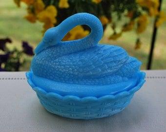 Vintage Blue/White Opaline Slag Milk Glass Long-Necked Swan on Basket