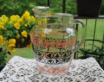 Vintage 1950s Anchor Hocking Leaf Design Pink and Black Beverage Pitcher with Ice Lip