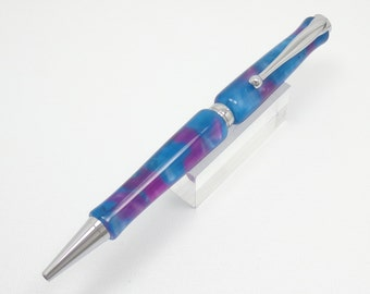 Handmade Writing Pen Made With A Northern Lights Acrylic And Chrome Plated Components