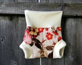 Upcycled Wool And Organic Merino Wool Interlock Soaker Cover Diaper Cover With Added Doubler Flower Print  MEDIUM 6-12M