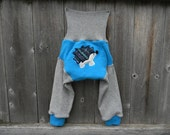 Upcycled Cashmere/  Wool Longies Soaker Cover Diaper Cover With Added Doubler Gray/ Turquoise With Hedgehog Applique LARGE 12-24