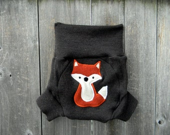 Upcycled Merino Wool  Soaker Cover Diaper Cover Shorties With Added Doubler Brown With Fox  Applique MEDIUM 6-12M Kidsgogreen
