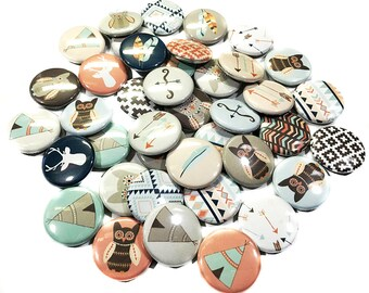 "Tribal Party, 1"" Buttons, Tribal Buttons, Tribal Pin, Teepees, Owls, Arrow, Tribal Badge, Tribal Pinback, Tribal Flatback, Tribal Decoration"