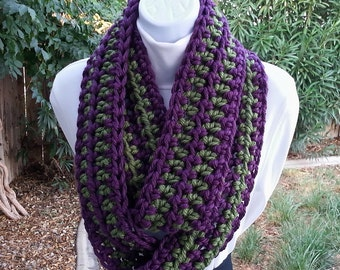 Dark Purple and Green Infinity Scarf Loop Cowl, Skinny Striped Soft Thick Narrow Chunky Crochet Knit Winter Endless Circle, Ready to Ship