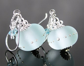 Aquamarine Sea Glass Earrings Sterling Silver Earrings Frosted Seafoam Lampwork Earrings Artisan Jewelry Aquamarine Drop Earrings
