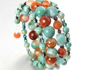 Orange Blue Gemstone Bracelet Carnelian Amazonite Agate Bracelet Blue Stone Bead Bracelet Wrap Around Boho Jewelry Multi Strand Bracelet