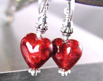 Red Murano Glass Heart Earrings Sterling Silver Earrings 24K Gold Venetian Glass Ruby Red Heart Dangle Earrings Valentine's Day Jewelry