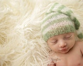 Sage Green and Cream Newborn Mohair Pixie Baby Hat Photography Prop
