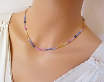Multi Color Natural Sapphire necklace. Sapphire choker. Sapphire gemstone necklace. Beaded Sapphire necklace. September birthstone gift