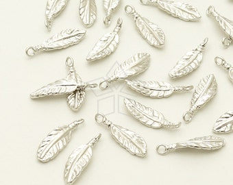 PD-1121-MS / 6 Pcs - Dream Catcher Feather Charm Pendant (S-Size), Matte Silver Plated over Brass / 3.6mm x 12mm