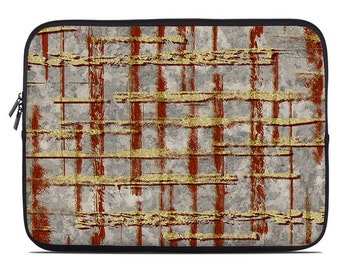 Modern laptop sleeve, laptop cover, laptop case, netbook case, to fit 10, 13, 15, 17 inch, abstract lines, rust, mustard yellow, gray