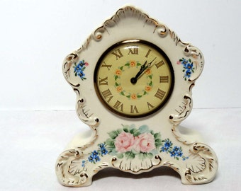 Waterbury Table Clock Hand Painted with Flower Motif Wind Up Mantle clock by Lux Clock Home and Garden Home Decor Collectibles Clocks
