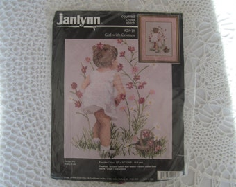 Counted Cross Stitch Kit Janlynn Girl With Cosmos Floral Picture Little Girl Flowers Never Opened 1995