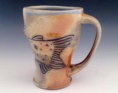 Brown Trout Mug, Wood Fired, Hand Carved, 10 oz.
