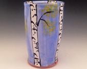 Pottery Tumbler with Aspen Trees, 12 oz.