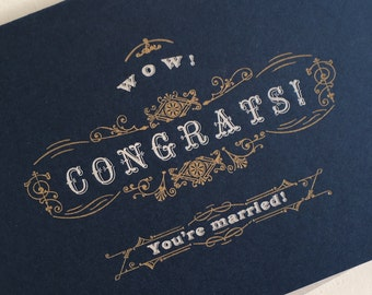 Wedding Congratulations Letterpress Card with Victorian-era Metal Type and Ornaments