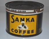 Vintage Sanka coffee can - tin advertising kitchen - general store