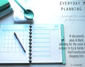 MENU PLAN - Clean Mama's EVERYDAY Menu Planning Kit - 14 documents - standard and half size included - Instant Download