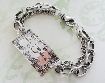 Personalized Silver Bracelet, Everlasting, Engraved Handmade Link with Hill Tribes Chain Bracelet, by SilverWishes
