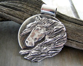 Horse Jewelry, Midnight Sun, Fine Silver Handcarved Horse Pendant by SilverWishes, Recycled Silver